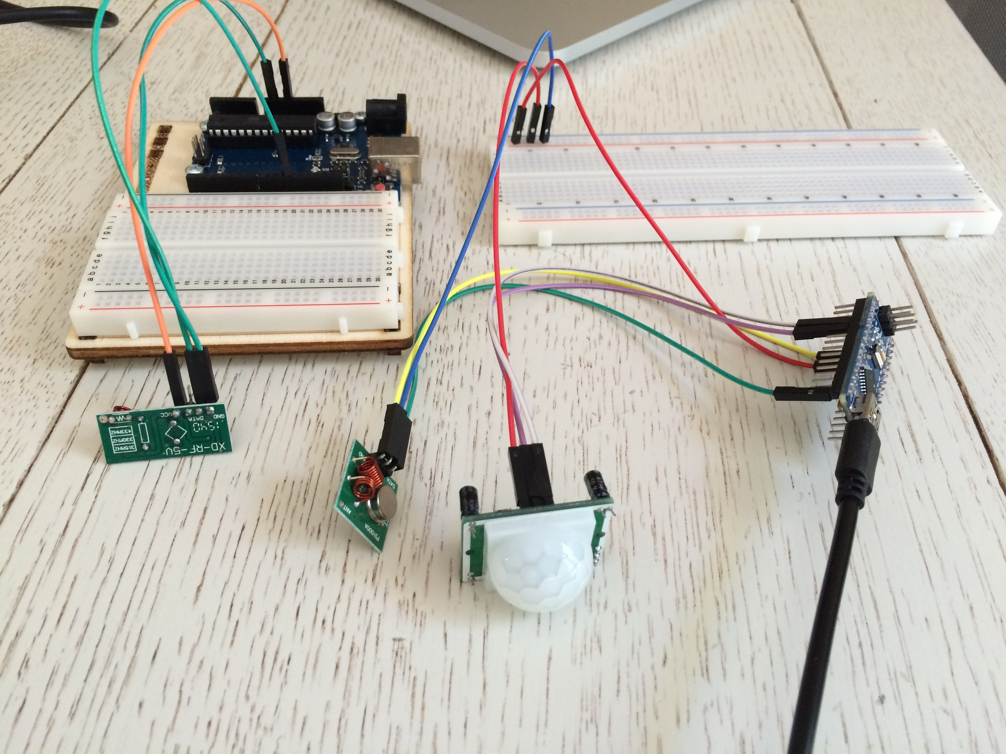 Alarm with PIR sensor and RF module to declare an intrusion